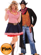 Plus Size Hayloft Honey and Plus Size Gunslinger Couples Costumes