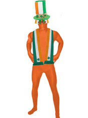 Adult St Patricks Day Orange Morphsuit Costume Set