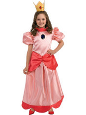 Girls Princess Peach Costume Deluxe - Super Mario Brothers
