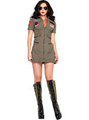 Adult Women's Flight Dress Costume - Top Gun