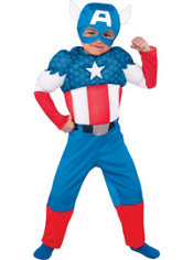 Toddler Boys Captain America Muscle Costume