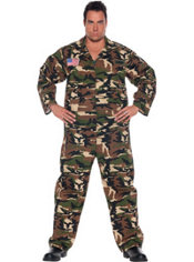 Adult Camo Army Costume Plus Size