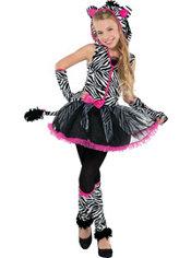 Girls Sassy Stripes Zebra Costume