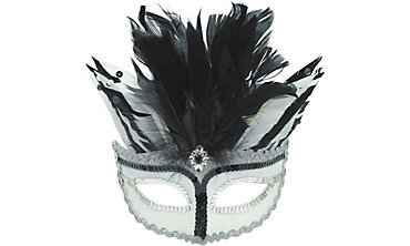 Black & White Feather Masquerade Mask