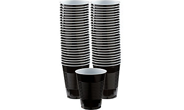 Black Plastic Cups 16oz 50ct