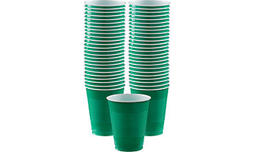 Festive Green Plastic Cups 16oz 50ct