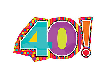 40th Birthday Dots & Stripes Foil Balloon 29in