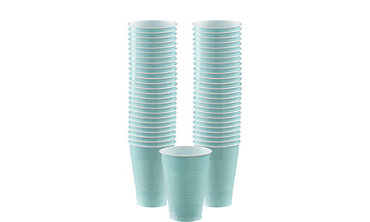 Robin's Egg Blue Plastic Cups 12oz 50ct