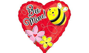 Foil Bee Mine Valentines Day Balloon 32in