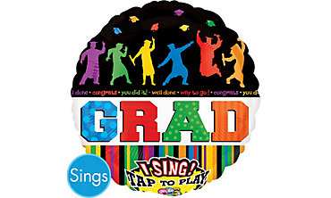 Foil Celebration Graduation Singing Balloon 28in