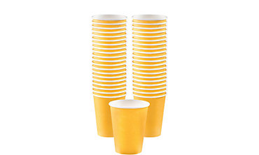 Sunshine Yellow Paper Coffee Cups 12oz 40ct