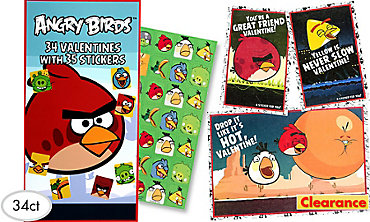 Angry Birds Valentine Exchange Cards with Stickers 34ct