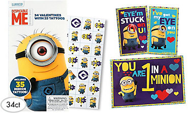 Despicable Me Valentine Exchange Cards with Tattoos 34ct