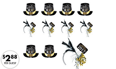 2017 New Year's Top Hats & Feather Headbands 25ct