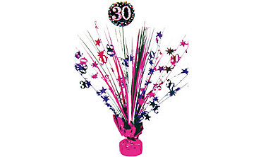 Prismatic 30th Birthday Spray Centerpiece - Pink Sparkling Celebration