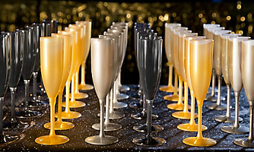 Black, Silver & Gold Champagne Flutes