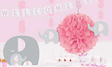 Pink Baby Elephant Baby Shower Decorations