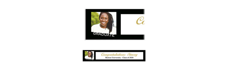Custom Graduate Black Slant Photo Banner
