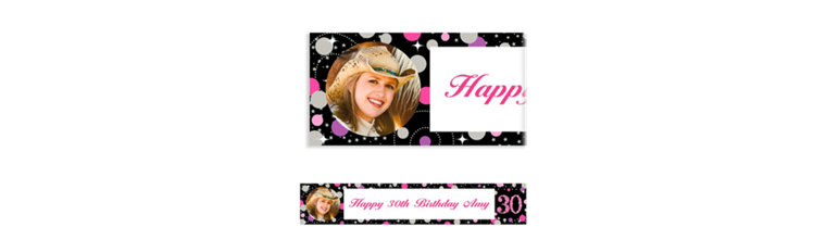 Custom Pink Sparkling Celebration 30 Photo Banner
