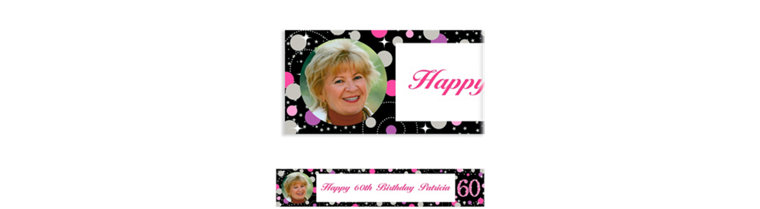 Custom Pink Sparkling Celebration 60 Photo Banner