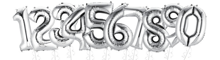 Giant Silver Number Balloons