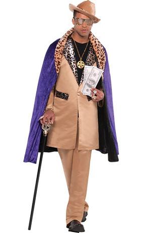 Purple Pimp Hat with Snow Leopard Fur |Pink Pimp Cane