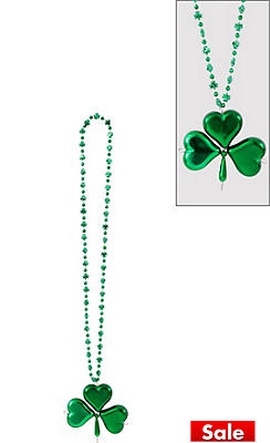 St. Patrick's Day Shamrock Pendant Bead Necklace