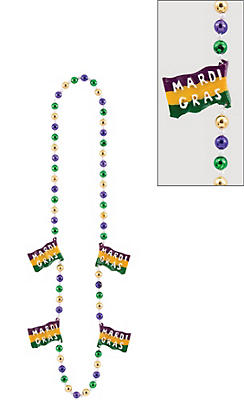 Flag Mardi Gras Bead Necklace