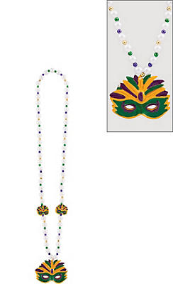 Mask Mardi Gras Pendant Bead Necklace