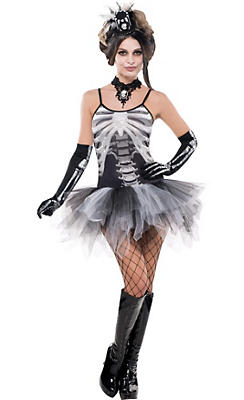 Adult Skeleton Petticoat Dress