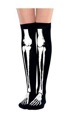 Black Bone Over-the-Knee Socks - Skeleton