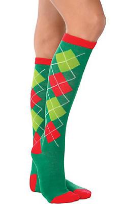 Holiday Argyle Knee-High Socks
