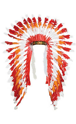 Red & Orange Native American Headdress