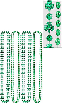 Green Shamrock Bead Necklaces 8ct