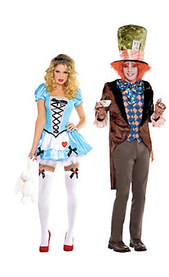 Adult Alice & Mad Hatter Couples Costumes - Alice in Wonderland