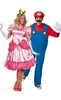 Adult Princess Peach & Mario Couples Costumes
