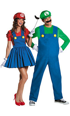 Adult Luigi & Miss Mario Couples Costumes