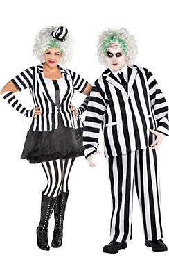 Adult Beetlejuice & Mrs. Beetlejuice Couples Costumes Plus Size