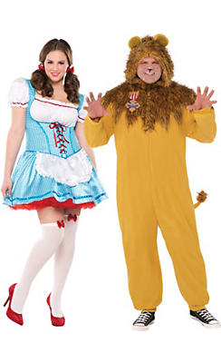 Adult Dorothy & Cowardly Lion Couples Costumes Plus Size - The Wizard of Oz