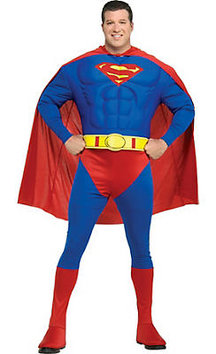 Adult Superman Muscle Costume Plus Size Deluxe - Classic Superman