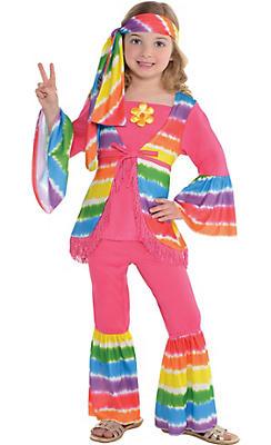 Girls Rainbow Groovy Hippie Costume