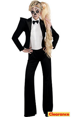 Adult Skeleton Tuxedo Lady Gaga Costume