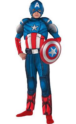 Boys Captain America Muscle Costume