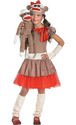 Girls Sock Monkey Costume