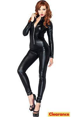 Adult Wet Look Black Catsuit