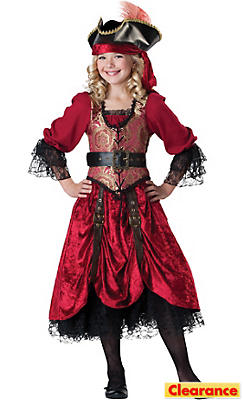 Girls Swashbuckling Scarlet Pirate Costume Prestige