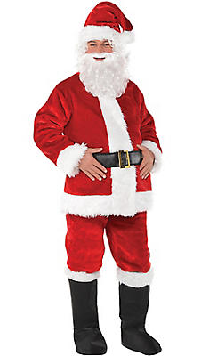 Child size Santa Claus costume features red and white jacket with OVOV 10 Pcs Complete Santa Claus Christmas Suit Kids Costume for Xmas Party Cosplay. by OVOV. This kids Santa suit costume set includes a jacket, pants, hat, belt Round Wire Rim Glasses Costume Accessory. by Rubie's. $ $ 7 90 Prime.