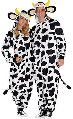 Adult Zipster Cow One-Piece Pajama Costume