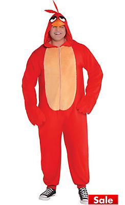 Adult Zipster Red Angry Bird One Piece Costume Plus Size - The Angry Birds Movie