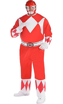 Adult Red Power Ranger Costume Plus Size - Mighty Morphin Power Rangers